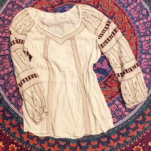 FREE PEOPLE white embroidered peasant top